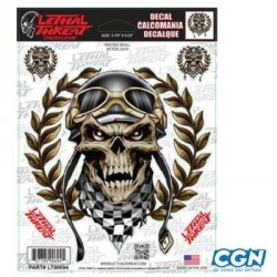 STICKER LETHAL THREAT RACING SKULL (15X20CM)