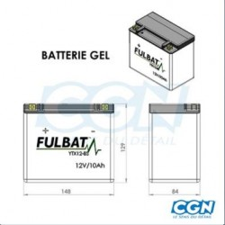 BATTERIE GEL FULBAT YTX12-BS 12V 10A