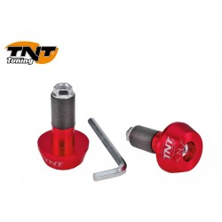 PAIRE EMBOUTS GUIDON ROUGE ANODISE